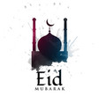 mosque silhouette with ink splatter for eid vector image vector image
