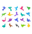 origami birds stylized polygonal dove geometrical vector image