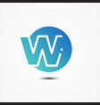 round symbol letter w design minimalist vector image vector image