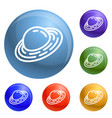 saturn planet icons set vector image
