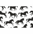 seamless pattern with horses silhouettes vector image vector image