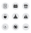 set of 9 editable passion icons includes symbols vector image vector image