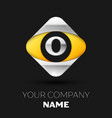 silver letter o logo in the silver-yellow square vector image vector image