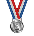 Silver Medal Isolated on White Background vector image vector image