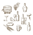 sketches alcohol drinks and snacks vector image vector image