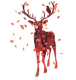 Stag Silhouette with Forest vector image