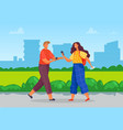 teenagers spend time together walking in park vector image vector image