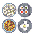 Thin Line Flat Design Food Icons vector image vector image