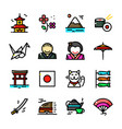 thin line japan icons set vector image vector image