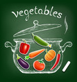 vegetables cooked in a pan kitchen equipment is vector image vector image