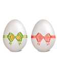 White easter eggs with bows and ribbons vector image vector image