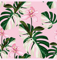 white exotic monstera leaves and orchid flowers vector image vector image