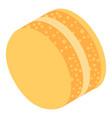 yellow cream macaroon icon isometric style vector image vector image