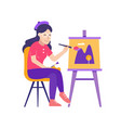 young woman painter drawing picture on canvas vector image