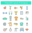 Flat Thin Line Fitness and Wellness Icons vector image