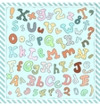 Hand drawn cute letters numbers and symbols vector image