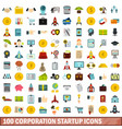 100 corporation startup icons set flat style vector image vector image