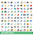 100 shed icons set isometric 3d style vector image