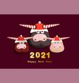 2021 year white bull congratulatory poster vector image vector image
