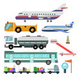 airport service vehicles and planes vector image