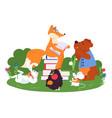 animal friends reading fun animals school bear vector image vector image