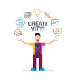 art man character in colorful stroke tees vector image vector image