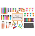 art tools flat style icon set drawing tool vector image