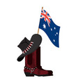 australia flag and australian hat and crocodile vector image vector image