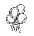 balloons bunch with curled ribbon retro vector image vector image