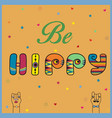 be hippy colorful retro font vector image vector image