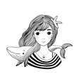 Beautiful young girl sailor with a whale and star vector image vector image