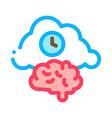 brain cloud clock icon outline vector image vector image