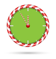 Candy cane clock isolated on white vector image vector image