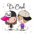 cartoon boy and girl in caps vector image vector image