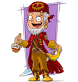 cartoon pirate in red cape with sword vector image vector image