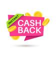 cashback sticker symbol cash back vector image vector image