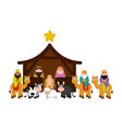 christmas crib with all characters vector image