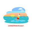 christmas in july santa claus riding on water ski vector image vector image