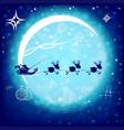 christmas postcard with big bright moon and santa vector image