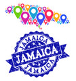 collage map of jamaica with map pointers and vector image