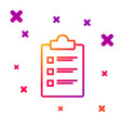 color line clipboard with checklist icon isolated vector image vector image