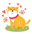 cute funny cartoon dog shiba inu dog vector image