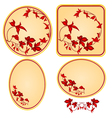 Decorative frames with red floral pattern vector image vector image