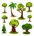 different green trees set of vector image vector image