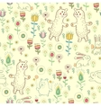 Drawn cartoon animals and flowers vector image vector image