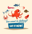 Fishing catch of fishes or seafood mollusks vector image