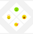 Flat icon gesture set of descant wonder frown