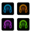 glowing neon headphones icon isolated on white vector image vector image