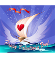 Greeting card with a toy boat vector image vector image