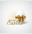happy easter lettering with realistic 3d egg vector image vector image